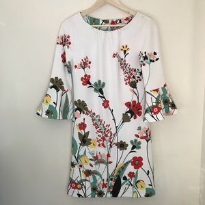 NY&C White Floral Shift Dress w/ Bell Sleeves